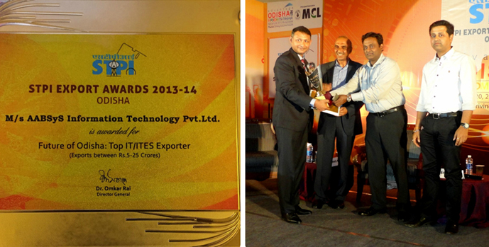 AABSyS IT conferred the Future of Odisha Award by STPI