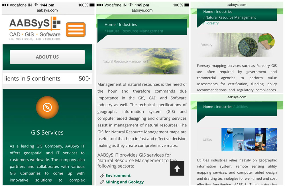 Screenshots of the website from a smart phone