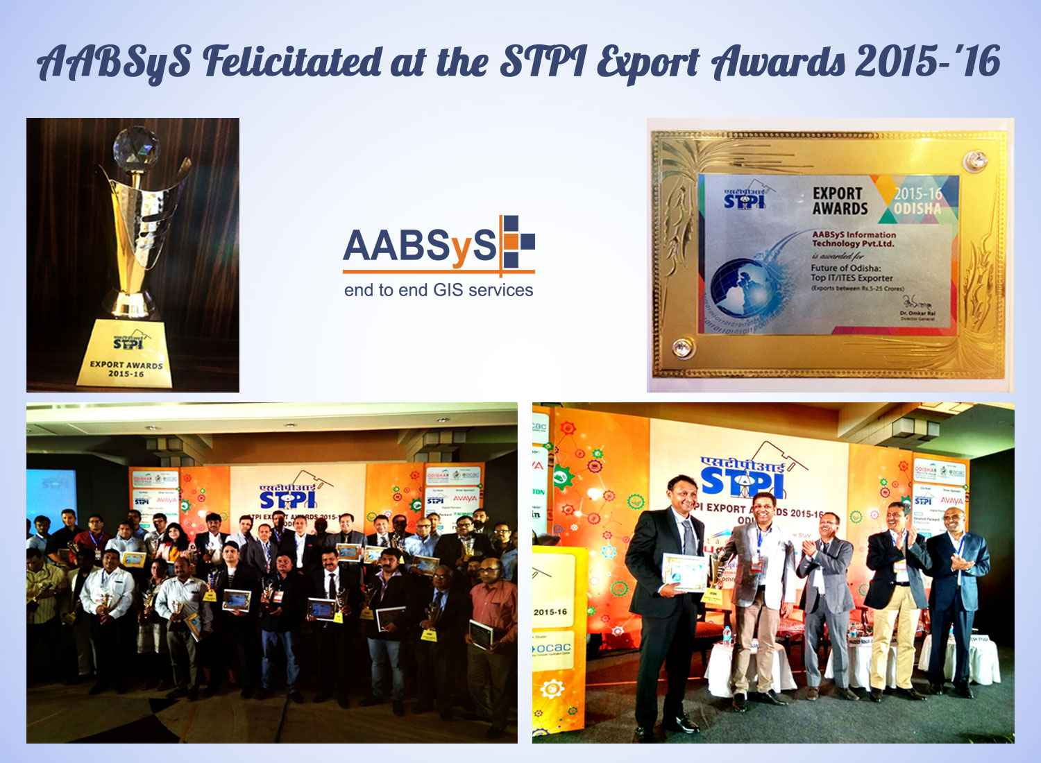 AABSyS IT Felicitated at STPI Export Awards 2015-16